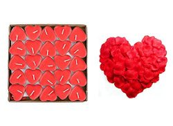 Yalulu 50Pcs Heart Shaped Smokeless Candles, Romantic Love Candle Floating Tealights Candle with ...