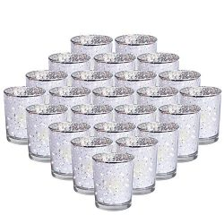 24-Pack Mercury Votive Candle Holders Bulk, Speckled Sliver Mercury Candle Holders Perfect Decor ...