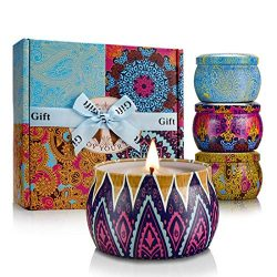 YMING Scented Candles 4 Pack Gift Set, 100% Natural Soy Wax 4.4 Oz Portable Travel Tin Candles f ...
