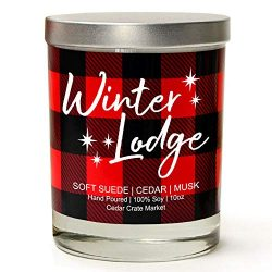 Winter Lodge | Soft Suede, Cedar, Musk | Buffalo Plaid Luxury Scented Soy Candle | 10 Oz. Glass  ...