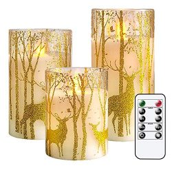 GenSwin Glass Flameless Candles with Elk Decor and Remote Timers, Battery Operated Moving Wick L ...