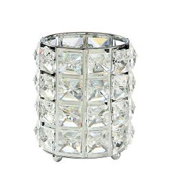 Chris.W Crystal Makeup Brush Organizer Desktop Pencil Holder Diamond Pen Cup Candle Holder, Grea ...