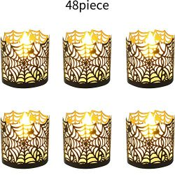 Halloween Laser Cut Candle Holder Black Spiderweb Candle Wraps Votive Tea Light Decorative Wraps ...