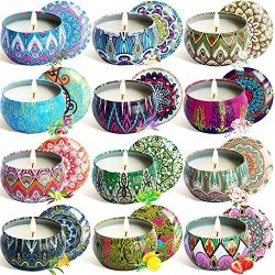 YYHC Aromatherapy Scented Candles Essential Oils Natural Soy Wax Portable Travel Tin Candle Set  ...