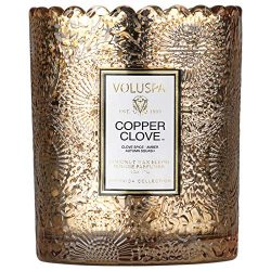 Voluspa Copper Clove Scalloped Edge Boxed Glass Candle, 6.2 Ounces