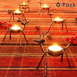 FORUP 6 Pack Metal Reindeer Tea Light Candle Holders, Christmas Decoration for Home, Reindeer Ca ...