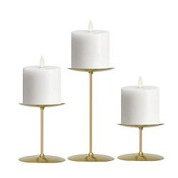 smtyle Gold Candle Holders Set of 3 Candelabra with Iron-3.5″ Diameter Ideal for Pillar LE ...