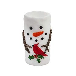 Cypress Home Snowman and Friend Flameless LED Illuminated Wax Pillar Candle