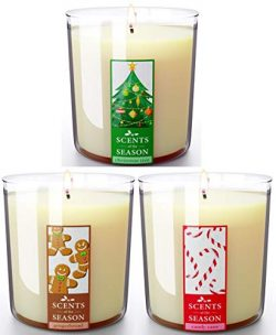Christmas Scented Candles Gift Set | Frasier Fir, Peppermint Candy Cane, Gingerbread | All-Natur ...