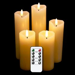 Wondise 3D Wick Flickering Flameless Candles Battery Operated with Remote and Timer, Set of 5 Re ...