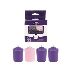 Mega Candles 4 pcs Unscented Hand Poured Advent Votive Candles, 15 Hours 1.5 Inch x 2.25 Inch, H ...