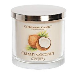 Creamy Coconut Scented Jar Candle | Home Decor, Soy Wax Blend with Triple Wick | 30-50 Hour Burn ...