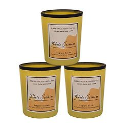 Océu 3 Pack Scented Candles Gift Set Ounce Jar Soybean Wax Candles yellow White Jasmine Gift Can ...