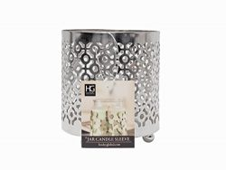 Hosley Metal Jar Candle Sleeves/Holders – Your Choice of Colors and Designs (Silver – ...