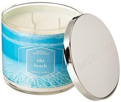 Bath and Body Works Tiki Beach Scented 3 Wick Candle 14.5 oz (vanilla musk, orchids, coconut)