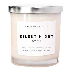 Silent Night Candle Glass Jar Soy Wax Tree Scented Candle Pine Birch Woods Sandalwood Candle Hol ...
