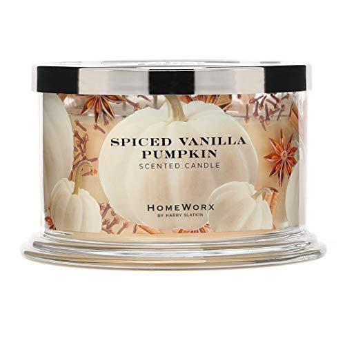 HomeWorx by Harry Slatkin 4 Wick Candle, 18 oz, Spiced Vanilla Pumpkin – HMXC18-AZ-SVP