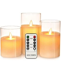 Aku Tonpa Flameless Candles Battery Operated Pillar Flickering LED Glass Candle Gift Sets with R ...