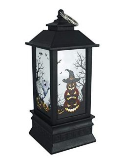 Halloween Pumpkin Lantern 7.5×3.1 inchi Warm White with Candle Flashing Modes Ghost Jack-O- ...