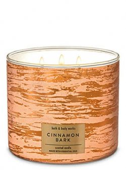 Bath and Body Works White Barn Cinnamon Bark 3 Wick Candle 14.5 Ounce Fall 2019