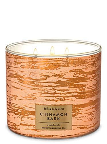 Bath and Body Works White Barn Cinnamon Bark 3 Wick Candle 14.5 Ounce Fall 2019