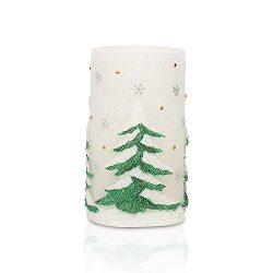 GiveU AM14X008 Green Tree Flameless Led Battery Operated Real Wax Candle with 4&8 Hour Timer ...