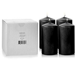 Light In The Dark Black Pillar Candles – Set of 4 Unscented Candles – 6 inch Tall, 3 ...