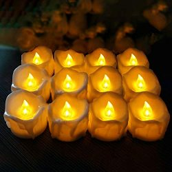 Hautton 12 Pack Flameless Candles, Warm Amber Yellow Flickering Light LED Tea Lights Battery Ope ...