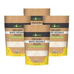 Sky Organics USDA Organic White Beeswax Pellets (4lb) Pure Bees Wax No Toxic Pesticides or Chemi ...
