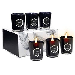 Yinuo Mirror Scented Candles Gift Set, Red Flame Votive Candle Natural Soy Wax 2.5 Oz Per Cup Gl ...