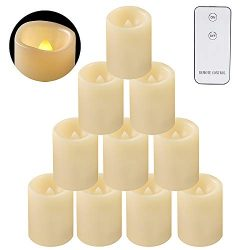 Eldnacele Flameless Flickering Votive Candles, Battery Operated Candle Light with Remote, Outdoo ...
