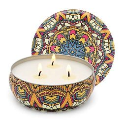 Niky Candle Scented Soy Wax 3 Wick Tin Peony and Cherry Blossom, 75 Hour Burn, Outdoor and Indoo ...