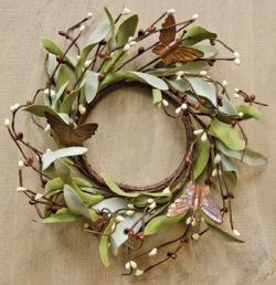 Rusty Butterfly & Herb Ring Mini Wreath Chocolate Brown Pips Greenery Country Primitive Flor ...