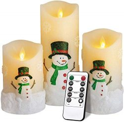 Christmas Candles Gifts,Snowman LED Flameless Candles Battery Operated Pillar Candle Moving Effe ...