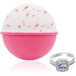 Bath Bomb with Surprise Size Ring Inside – Pink Himalayan Sea Salt Extra Large 10 oz. Bath ...