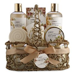Home Spa Gift Basket – Honey & Almond Scent – Luxury Bath & Body Set For Wom ...