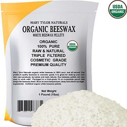 Certified Organic White Beeswax Pellets 1lb by Mary Tylor Naturals, Premium Quality, Cosmetic Gr ...