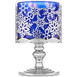 Bath and Body Works Glittery Snowflakes Pedestal 3-Wick Candle Holder