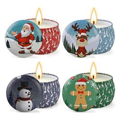 Yinuo Mirror Christmas Scented Candles Gift Set, Natural Soy Wax 4.4 Oz Portable Travel Tin Cand ...