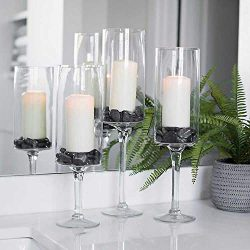 Set of 3 Different Size Clear Glass Stem Candle Hurricanes | Cylinder Vase Candle Holder | Use f ...