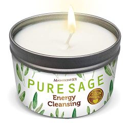 MAGNIFICENT101 Pure White Sage Smudge Candle for Home Energy Cleansing, Banishes Negative Energy ...