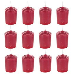 Mega Candles 12 pcs Unscented Red Votive Candle, Hand Poured Wax Candles 15 Hours 1.5 Inch x 2.2 ...