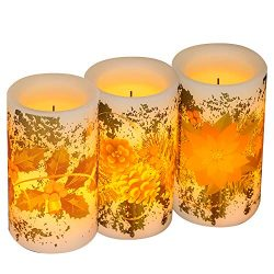 DRomance Flickering Flameless Candles Battery Operated with Timer, Set of 3 Real Wax Warm Light  ...