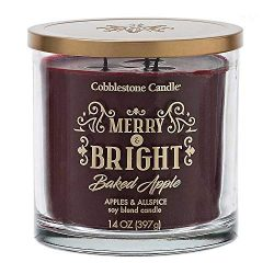 Merry and Bright, Apples and Allspice Scented Jar Candle | Home Decor, Soy Wax Blend with Triple ...