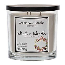 Winter Wreath Jar Candle | Home Decor, Soy Wax Blend with Triple Wick | 30-50 Hour Burn Time