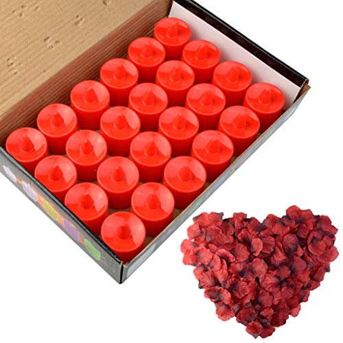 obmwang 24 Pack LED Tea Light Candles Realistic Flameless Tealight Candle and 1000 Pcs Artificia ...