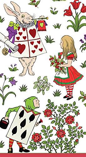 Caspari 13290G Entertaining Alice In A Winter Wonderland, Guest Towel, White