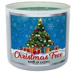 Christmas Tree 3-Wick Soy Wax Candle – Highly Scented Balsam Cedar Pine Fir Fragrance R ...