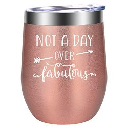 Not a Day Over Fabulous – Funny Christmas Gifts, Birthday Gifts for Women – Wine Gif ...