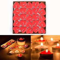 JCY-US 50pcs Heart Shaped Candles, Smokeless Tealights Candle, Tea Light Candles for Birthday, P ...